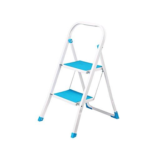 Leiter nach Hause Indoor-Minizweistufigen Kleiner Leiter Rutschfester Leiter tragbaren Klappleiter Fischgrät-Leiter Eisen Trittleiter Stabilität und Sicherheit (Color : Green)
