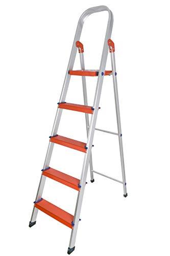 Plantex Classic 5 Step Foldable Aluminium Ladder/Step Ladder for Home Use (Orange & Silver)