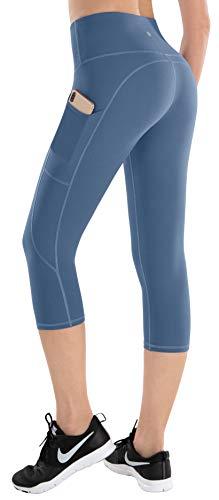 ESPIDOO Damen-Yoga-Hose, hohe Taille, Bauchkontrolle, Workout-Hose für Frauen, 4-Wege-Stretch-Leggings mit Taschen, Damen, Capri Benzo Blau, Large