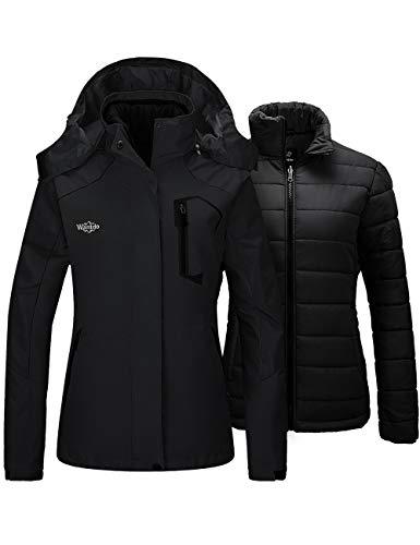 Wantdo Women's Waterproof Snowboard Jacket Windproof Warm Coat Black XX-Large