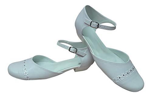 deine-Brautmode Zapatos de Comunión, Zapatos Comunión Fiesta Infantil Interior Cuero Flores Brillantes, color Blanco, talla 34 EU