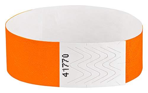 Pulseras de acceso Tyvek, pulseras de control, pulseras para festivales, pulseras de seguridad, pulseras de control, color naranja 100 Stück