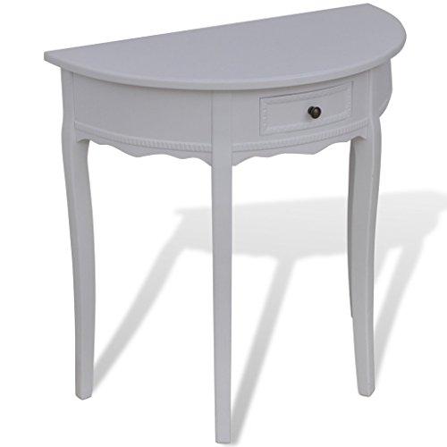 Anself Konsolentisch Tischkonsole mit Schubfach Halbrund 80 x 40 x 78 cm Weiß