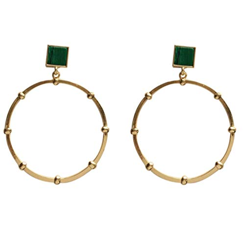 Yhhzw Needle Metallic Geometrical Big Circle Earring Exaggerated Green Square Composite Stone Earrings Women Jewelry Gifts Party