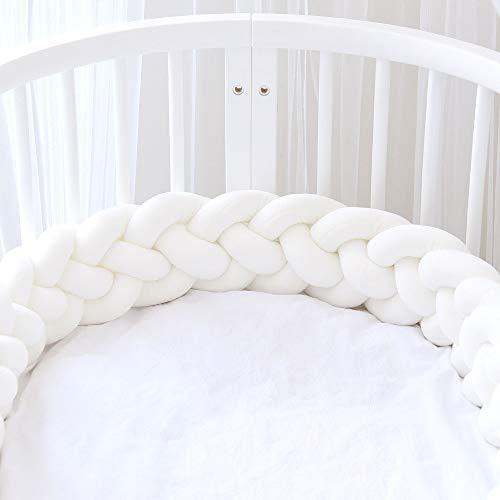 Icegrey Trenza Protector de Cuna 4 Trenzada Bebe Parachoques Cuna Protector de Cabeza para Proteger Bebe y Decorar la Cuna con Bolsa de Lavandería, Blanco, 3m