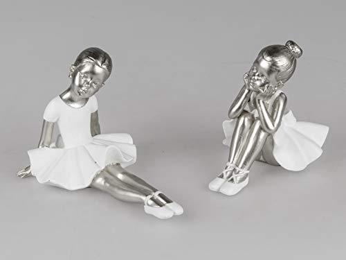 formano 2er Set Dekofiguren Mini Ballerinas sitzend 17cm weiß Silber