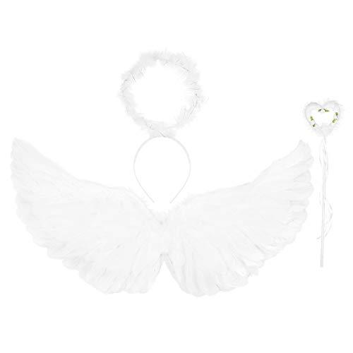 Amosfun Disfraz de ángel para niños con Plumas y alas para el Pelo, Diadema, Varita de Hada para Halloween, Carnaval, Fiestas, Suministros 4 Unidades