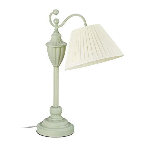 Relaxdays Tischlampe antik, Stoffschirm, E27, Wohn-, Schlafzimmer, Tischleuchte, Metall, 53,5 x 41 x 25 cm, grün/creme, 10032646_53