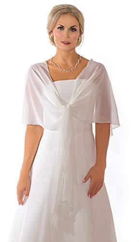 Unbekannt Schal Brautkleid Rundstola Stola Umschlagtuch Chiffon Ivory Jacke Braut 140x120x40 Bolero Braut (Weiß)