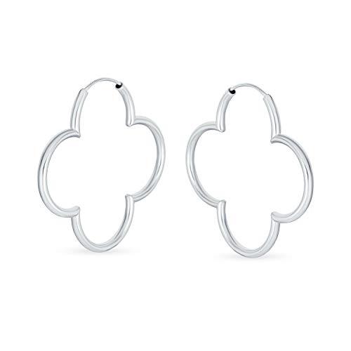 Einfache Klee Blume Geformt Dünne Tube Endlose Creolen Für Frauen Poliert 925 Sterling Silber 1,5 In Dia