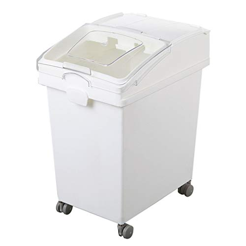 For Sale! Food Storage Container Ingredient Storage Bin With Sliding Lid Plastic Mobile Storage With...