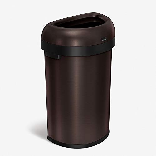 simplehuman 60 Liter / 15.9 Gallon Large Semi-Round Open Top Trash Can, Commercial Grade Heavy Gauge, Dark Bronze Stainless Steel