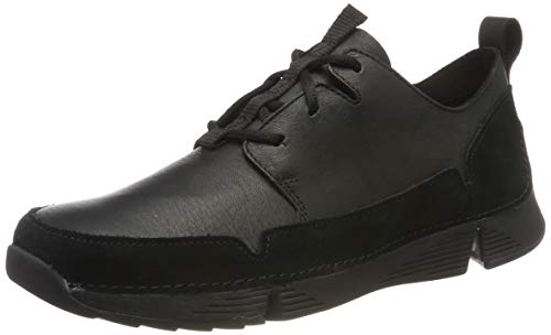 Clarks Men's Tri Solar Sneaker, Schwarz (Black Leather), 44 EU