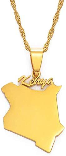Liuqingzhou Co.,ltd Mapa de Kenia Collares Pendientes Joyería Color Dorado Mapa Africano Joyería Kenia Mapa Kenians 60Cm