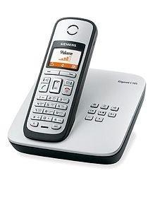 Siemens Gigaset C385 ECO schnurloses DECT Telefon mit beleuchtetem Farbdisplay und integriertem Anrufbeantworter, titanium