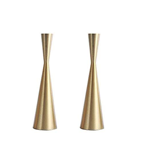 Pack 2 Brass Gold 9' Metal Taper Candlesticks Candleholder Vintage Mid-Century Modern Candlestick Home Cabin Lodge Table Mantel Wedding Centerpiece Candle Holders (Brass Golden, Pack of 2 Medium 9')
