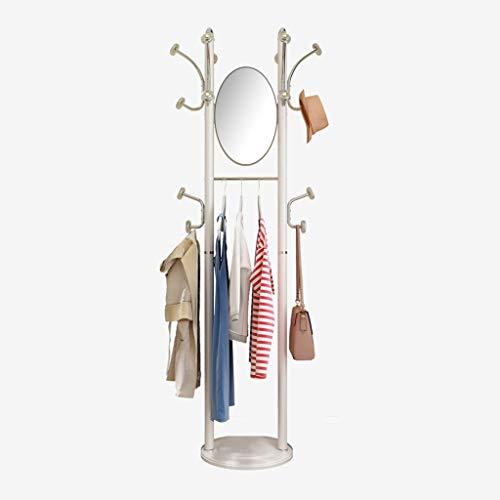Perchero de Pie Hogar Perchero suelo de suspensión dormitorio ropa simple rack móvil de múltiples funciones de longitud completa Espejo Percha con Espejo Perchero para Abrigos ( Color : White )