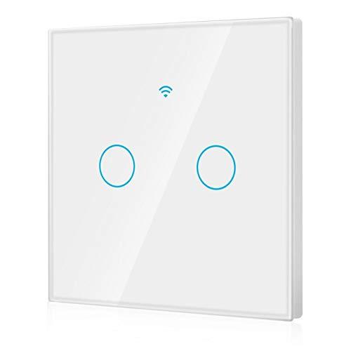 FOLOSAFENAR Interruptor WiFi de 22 Idiomas en Todo el Mundo Interruptor Inteligente inalámbrico de Alta sensibilidad Interruptor WiFi de 2 vías,(White, European regulations)