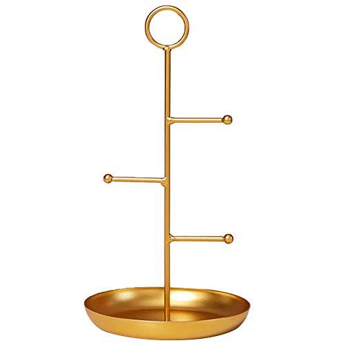 Fransande Soporte redondo simple y de hierro forjado, para joyas, para dormitorio, vestidor o aretes, pequeño dorado