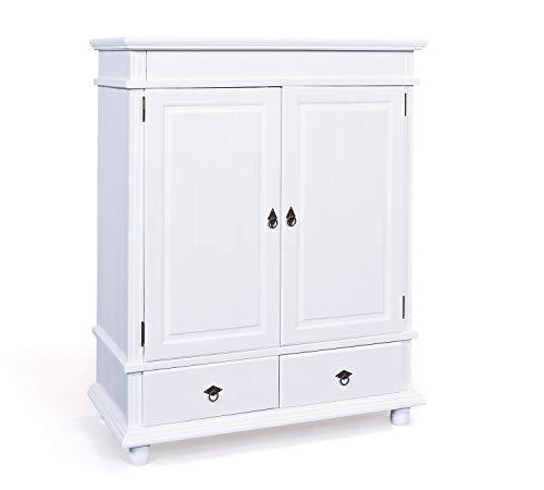 Inter Link Wäscheschrank Kiefer Massivholz weiß 2 Türen 2 Schubladen Schlafzimmer Garderobe