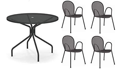 tavolo da giardino emu EMU Tavolo Esterno Cambi Diametro 106 CM Art. 804 + 4 POLTRONE Ronda Art. 116 Colore Grigio Antico - Resistente Agenti ATMOSFERICI