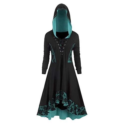 SUMTTER Gothic Kleidung Damen Vintage Mittelalter Kleid Damen Retro Umhang Kostüm Damen Große Größen für Halloween Karneval Weihnachten