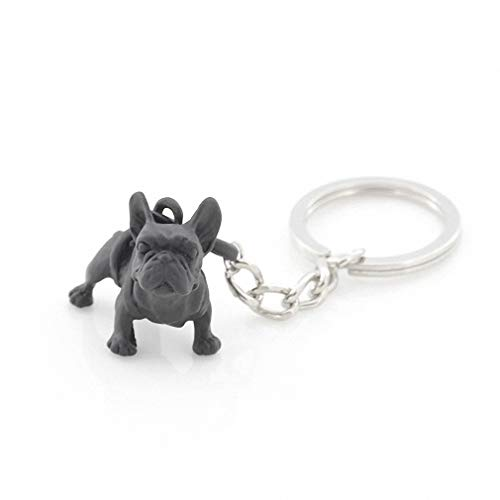 Kytrun Retro 3 Colors 3D French Bulldog Key Chains Cute Metal French Bulldog Dog Keychains Keyrings Pet Jewelry Best Gift Black Gun