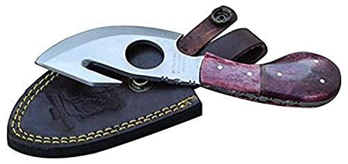 """Bone Collector BC-794-RDBN 7"""" Overall Red-Bone Handle Guthook Short Skinner with Leather Sheath, Red Bone"""