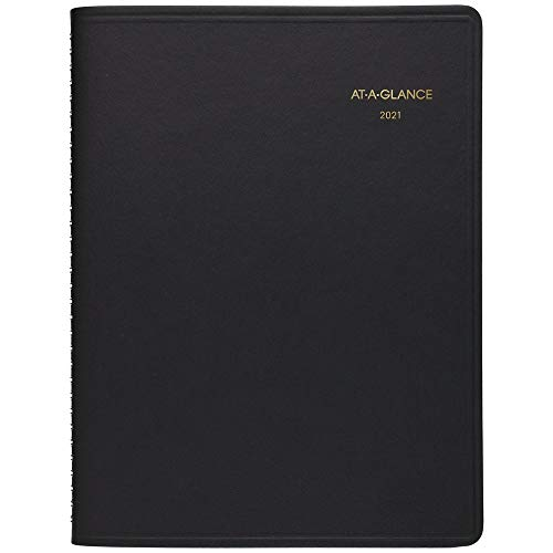 """2021 Weekly Appointment Book & Planner by AT-A-GLANCE, 8-1/4"""" x 11"""", Large, Large Print, Black (70LP010521)"""