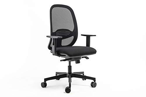 D-Segno Home Office Silla de oficina y Smartwoking negra, respaldo de malla, asiento acolchado, certificado soporte lumbar, ergonómico, reposabrazos ajustables.