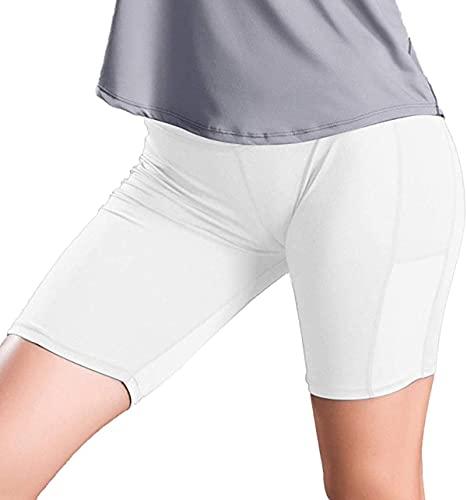 Pantalones cortos de yoga fruncidos de cintura alta para mujer