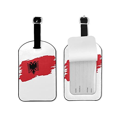 Etiquetas para equipaje de viaje con la bandera de Albania para equipaje de viaje con etiquetas de identificación para bolsos y maletas