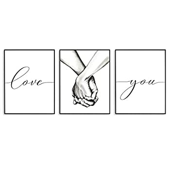 Love Wall Decor Black and White Wall Art Love and Hand in Hand Modern Art Prints Bedroom Wall Decor for Couples Living Room Wall Decor Bedroom Wall Art  Set of 3 8X10in Unframed