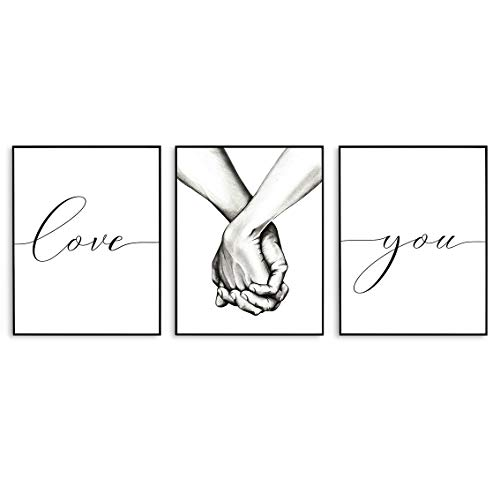 Black and White Wall Art, Love and Hand in Hand Modern Art Prints, Bedroom