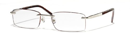 Cross Byron Collection Rimless Reading Glasses with Polished Silver Appointments and Dark Tortoise Temples, 3.00