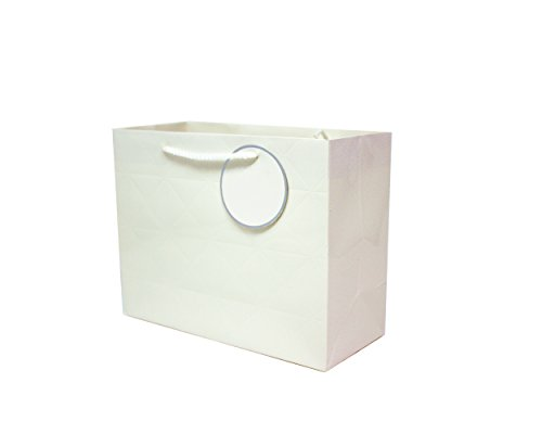 Singular Metallizing Rhombus Embossed Paper Bag (Set of 12) (4 Color Avaliable) (Large Size (16'X12.6'X4.7'), White) best for valentine's party