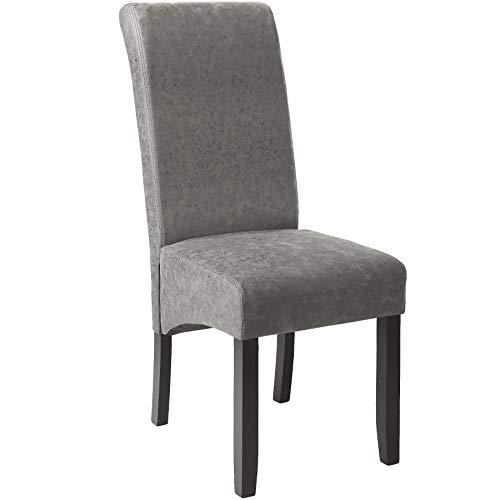 TecTake 403626 Edler Esszimmerstuhl aus Kunstleder | Stuhl mit hoher Rückenlehne | qualitativ hochwertig | Stuhlbeine aus Hartholz massiv | 106 cm hoch | grau marmoriert