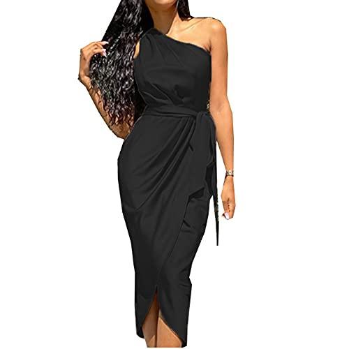 Vestido Largo para Mujer Nuevo Vestido De SatéN Ajustado con CinturóN De Hombro Inclinado Irregular