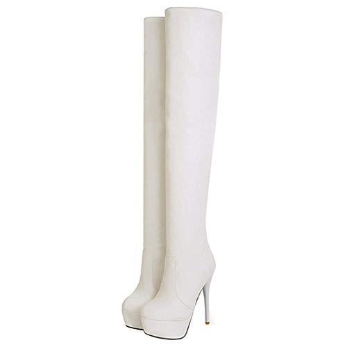 Overknee Stiefel High Heels Stiletto Stretch Boots mit 13cm Absatz Plateau Winter Schuhe(Weiß,37)