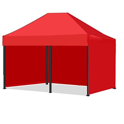 3 x 3/3 x 6 Meter Outdoor Canopy Tent Portable Sun Rain Protection Telescopic Canopy Umbrella Shade Canopy Tent Windproof Exhibition Awning Parking Shed (Red-A-3 x 6 Meter)