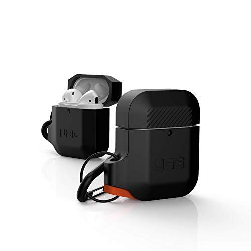 Urban Armor Gear Funda de Silicona Apple Airpods 2 (2019) / Apple Airpods 1 (2016) (Carga Inalámbrica Compatible con 2ª Generación, Resistente a los Choques, Incluido el Mosquetón) - negro / naranja