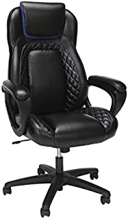 OFM Essentials Collection Racing Style SofThread Leather High Back Office Chair, in Blue