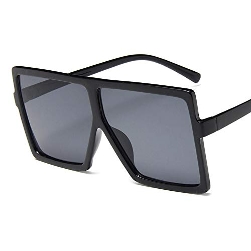 NJJX Gafas De Sol De Gran Tamaño Para Mujer, Gafas Cuadradas De Moda Con Montura Grande, Gafas Retro Vintage Para Mujer, Unisex, C1Lightblack
