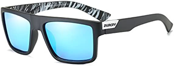 DUBERY Mens Sport Polarized Sunglasses Outdoor Riding Square Windproof Eyewear, #6, Frame width:141mm