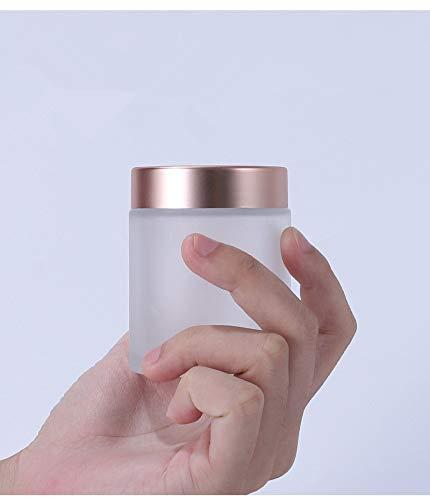 GOOODBUY 6 frascos vacíos de 20 g de vidrio esmerilado transparente, tarros de gel con tapas rosadas, frascos de vidrio, 5 cucharas (5 ml)
