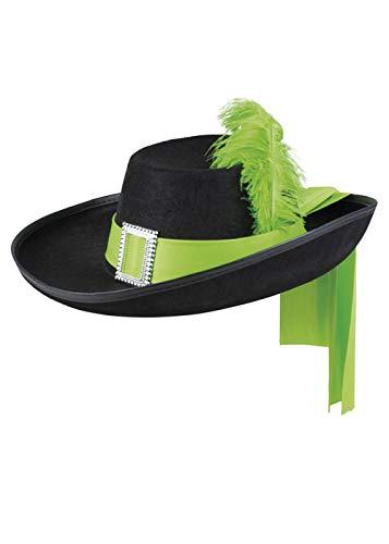 Magic Box Schwarzer Musketier-Hut in Erwachsenengröße mit grüner Feder