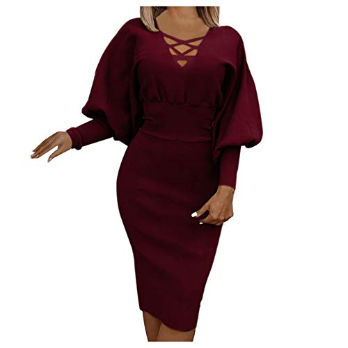 Kobay-Damen Frühling Sommer komfortabel Hautfreundlich Langarm Laterne Ärmel Taille V-Ausschnitt Slim Pullover Kleid