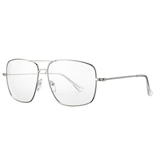 AZORB Classic Oversized Glasses for Women Men Non Prescription Clear Lens Eyewear (Silver)