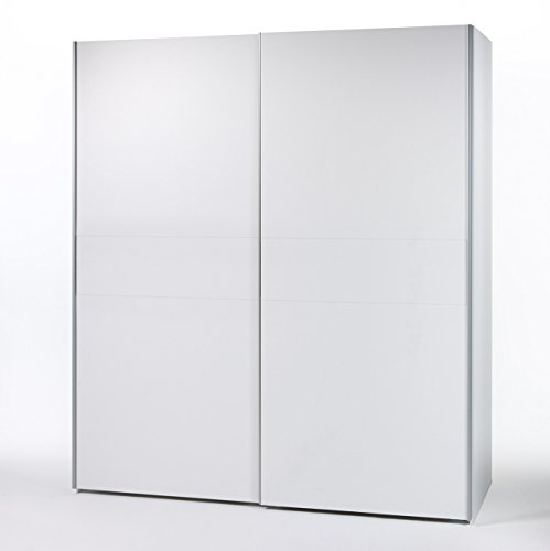 lifestyle4living Schwebetürenschrank, Weiß, mit 2 Schiebetüren, 170 cm | Hochwertiger Kleiderschrank mit 2 Einlegeböden & 2 Kleiderstangen