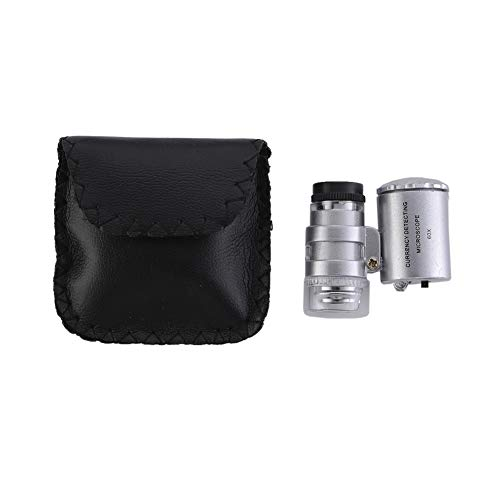 Mini 60x Microscope Magnifying Glass with LED UV Light Pocket Jewelry Magnifier Handheld Jeweler Loupe